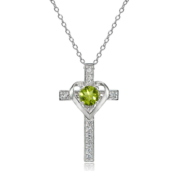 Sterling Silver Peridot and White Topaz Heart in Cross Necklace for Women Girls