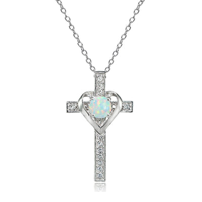 Sterling Silver Simulated White Opal and White Topaz Heart in Cross Necklace for Women Girls