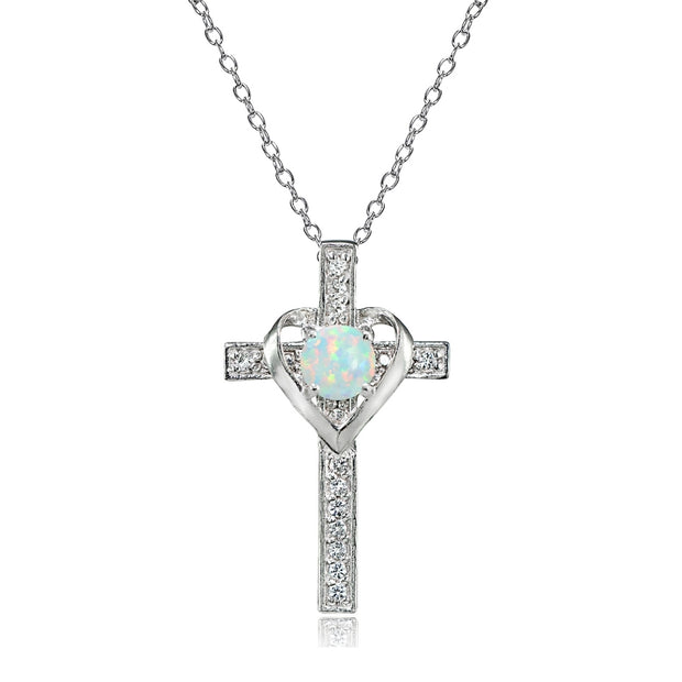 Sterling Silver Created White Opal and White Topaz Heart in Cross Necklace