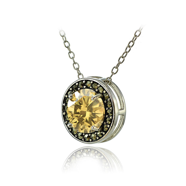 Sterling Silver Citrine and Marcasite Halo Necklace
