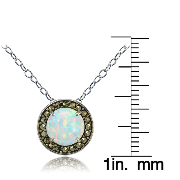 Sterling Silver Created White Opal and Marcasite Halo Necklace
