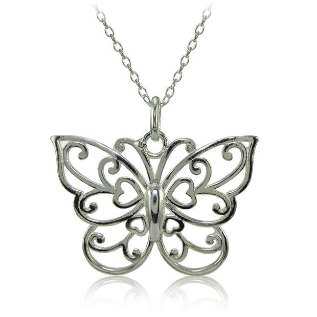 Sterling Silver High Polished Filigree Butterfly Necklace
