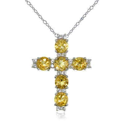 Sterling Silver Citrine and White Topaz Cross Necklace