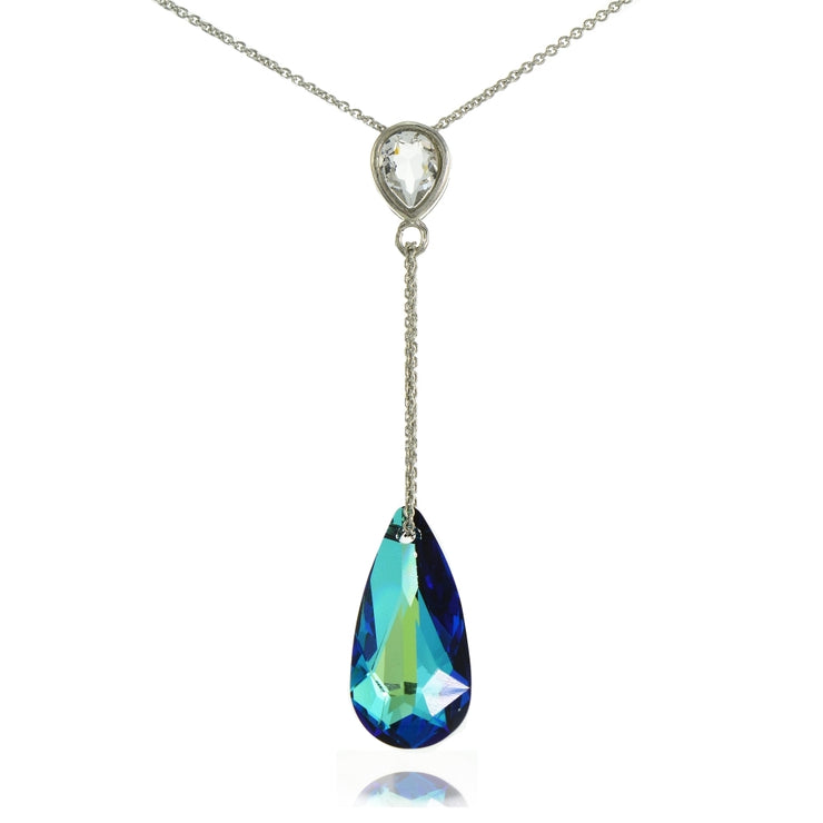 Sterling Silver Bermuda Blue Pear Shape Drop Necklace Adorned with Swarovski® Crystals