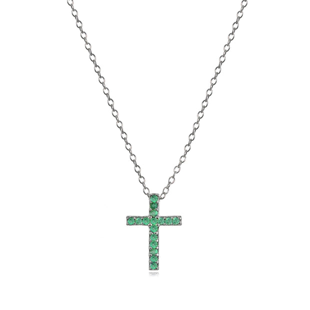 Sterling Silver Genuine Emerald Cross Neckace
