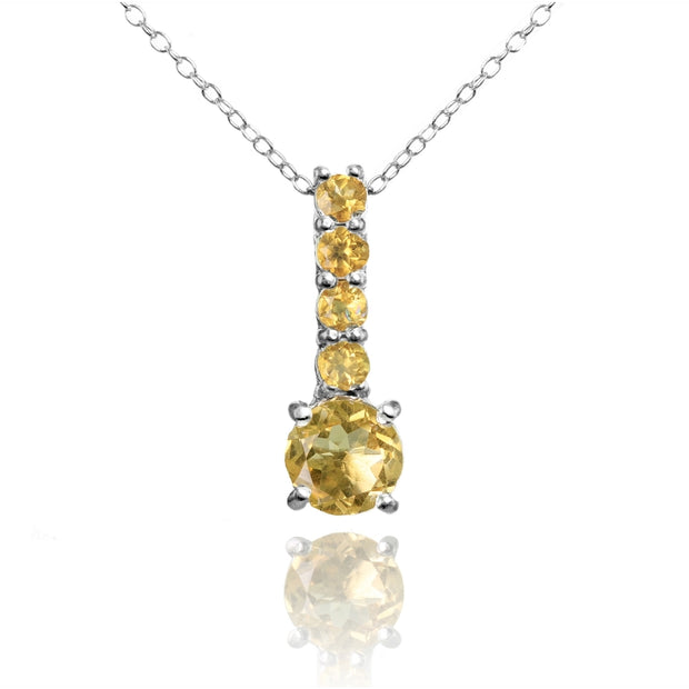 Sterling Silver Citrine 5-Stone Round Drop Necklace
