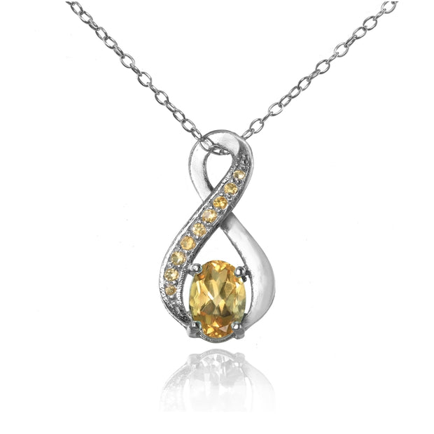Sterling Silver Citrine Infinity Drop Necklace