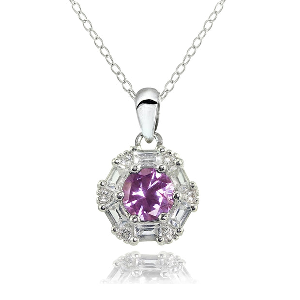 Sterling Silver Created Alexandrite and Cubic Zirconia Baguette & Round-Cut Fashion Necklace