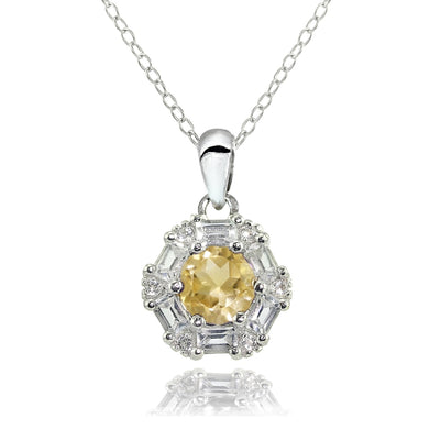 Sterling Silver Citrine and White Topaz Baguette & Round-Cut Fashion Necklace