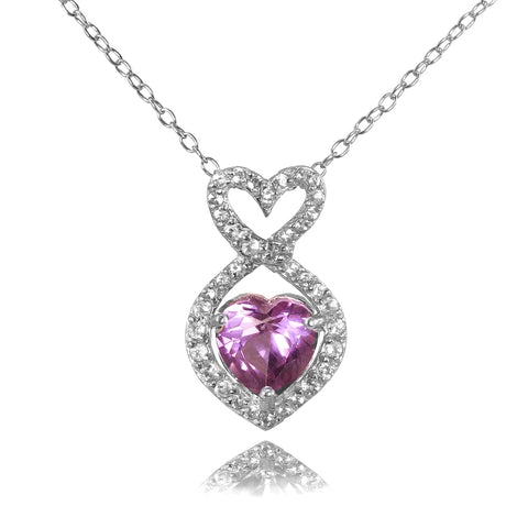 Sterling Silver Simulated Alexandrite and Cubic Zirconia Infinity Heart Necklace