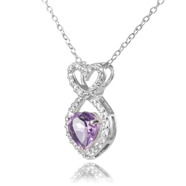Sterling Silver Amethyst and White Topaz Infinity Heart Necklace