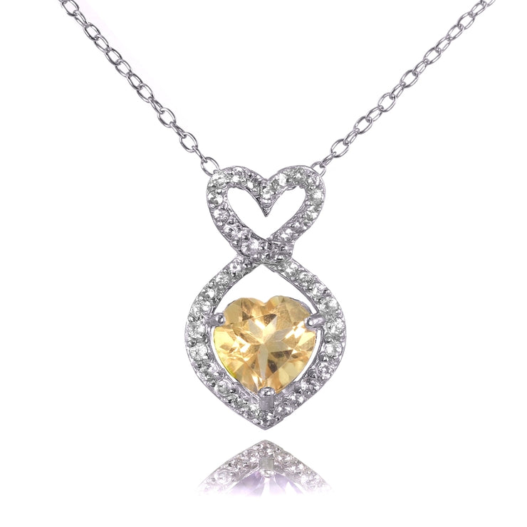 Sterling Silver Citrine and White Topaz Infinity Heart Necklace