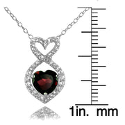 Sterling Silver Garnet and White Topaz Infinity Heart Necklace