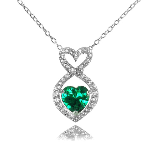 Sterling Silver Simulated Emerald and White Topaz Infinity Heart Necklace