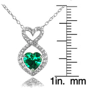 Sterling Silver Created Emerald and White Topaz Infinity Heart Necklace