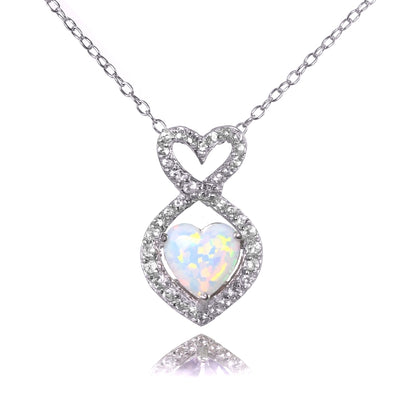 Sterling Silver Simulated White Opal and White Topaz Infinity Heart Necklace