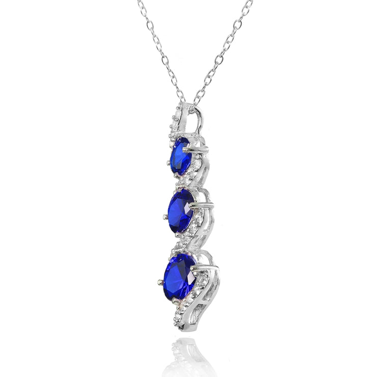 Sterling Silver Created Blue Sapphire and White Topaz Oval S Design Three-Stone Journey Necklace