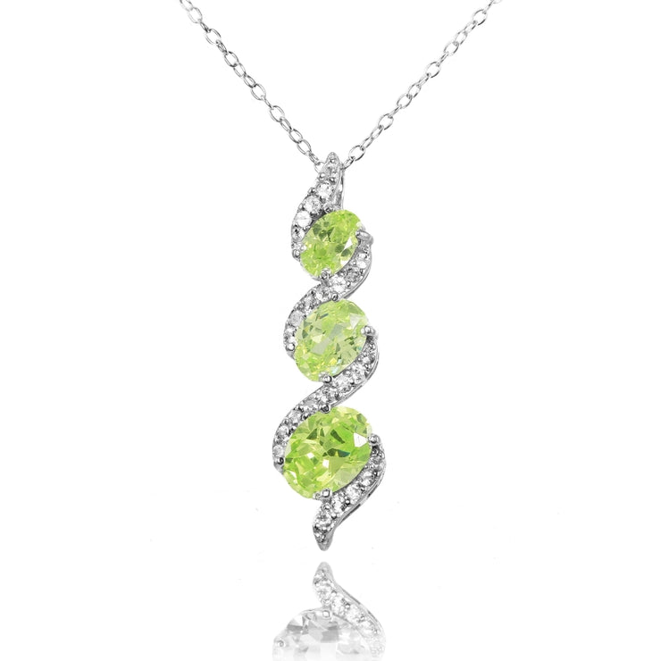 Sterling Silver Simulated Peridot and Cubic Zirconia Oval S Design Three-Stone Journey Necklace