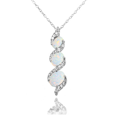 Sterling Silver Simulated White Opal and White Topaz Oval S Design Three-Stone Journey Necklace