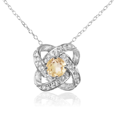 Sterling Silver Citrine and White Topaz Love Knot Necklace