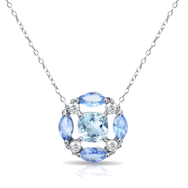 Sterling Silver Blue Topaz and Tanzanite Necklace with White Topaz Accents