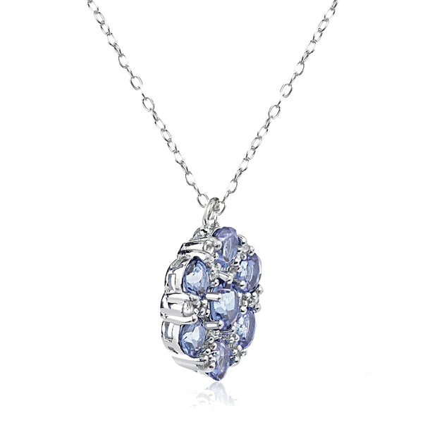 Sterling Silver Tanzanite and White Topaz Flower Round Pendant Necklace