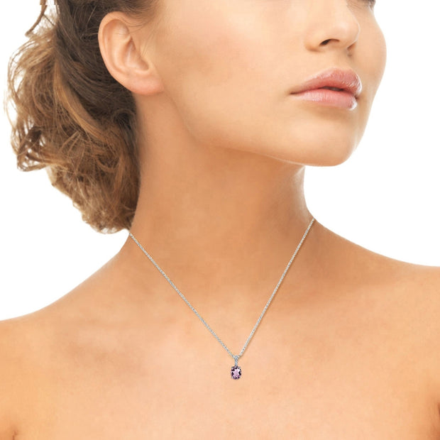 Sterling Silver Created Alexandrite and White Topaz Oval Crown Necklace