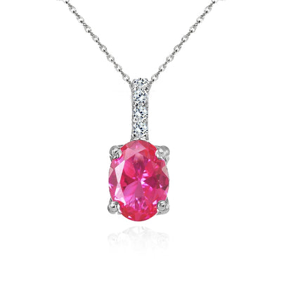 Sterling Silver Created Pink Sapphire and White Topaz Oval Crown Necklace