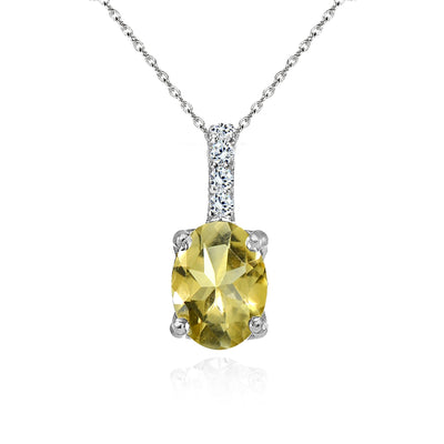 Sterling Silver Citrine and White Topaz Oval Crown Necklace