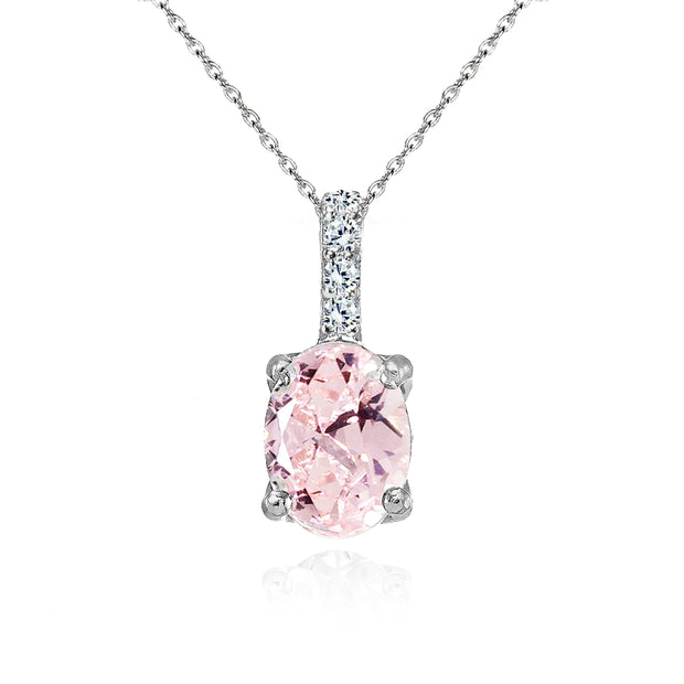 Sterling Silver Created Morganite and White Topaz Oval Crown Necklace