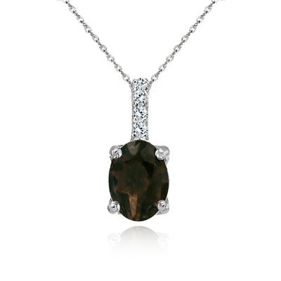 Sterling Silver Smoky Quartz and White Topaz Oval Crown Necklace