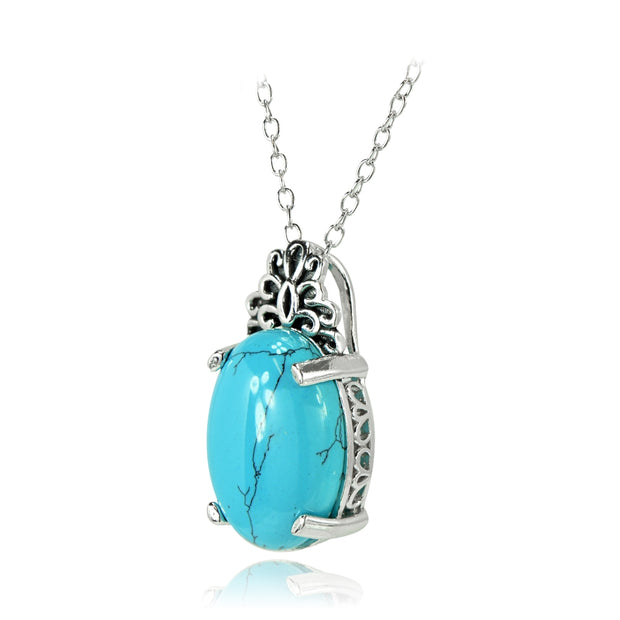 Sterling Silver Created Turquoise Oxidized Bali Inspired Filigree Oval Necklace