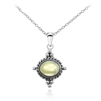 Sterling Silver Cabochon Citrine Bali Bead Oval Oxidized Vintage Necklace