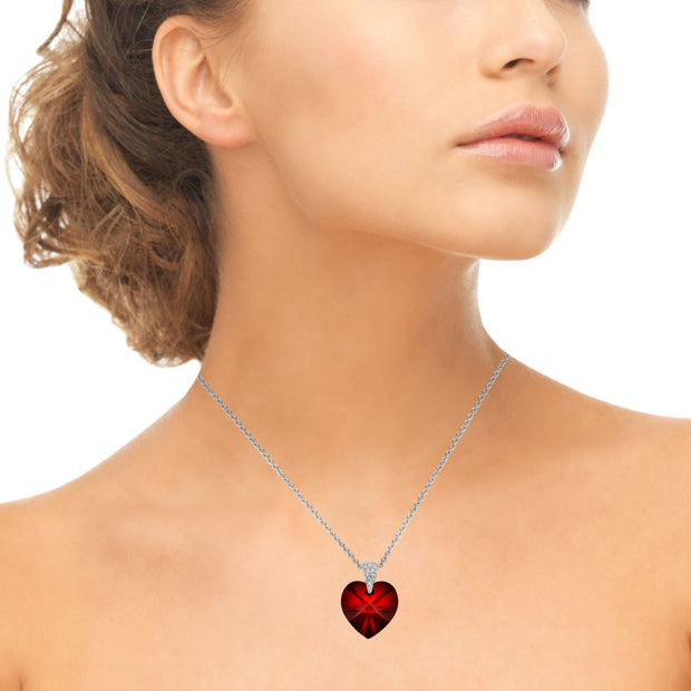 Sterling Silver Ruby Heart Necklace Created with Swarovski Crystals