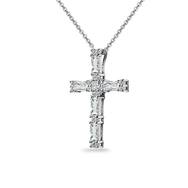 Sterling Silver Baguette-cut Cross Necklace Made with Swarovski Zirconia