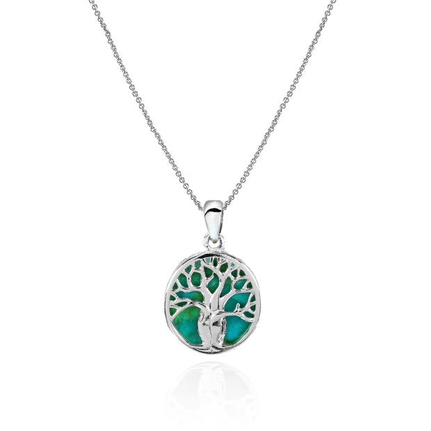 Sterling Silver Created Turquoise Polished Tree of Life Pendant Necklace