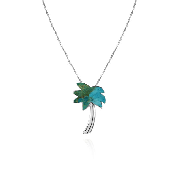 Sterling Silver Created Turquoise Polished Palm Tree Slide Pendant Necklace