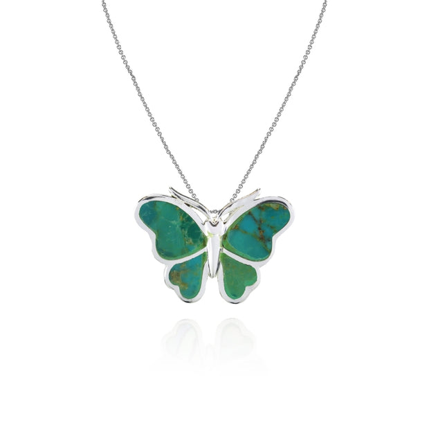 Sterling Silver Created Turquoise Polished Slide Butterfly Pendant Necklace
