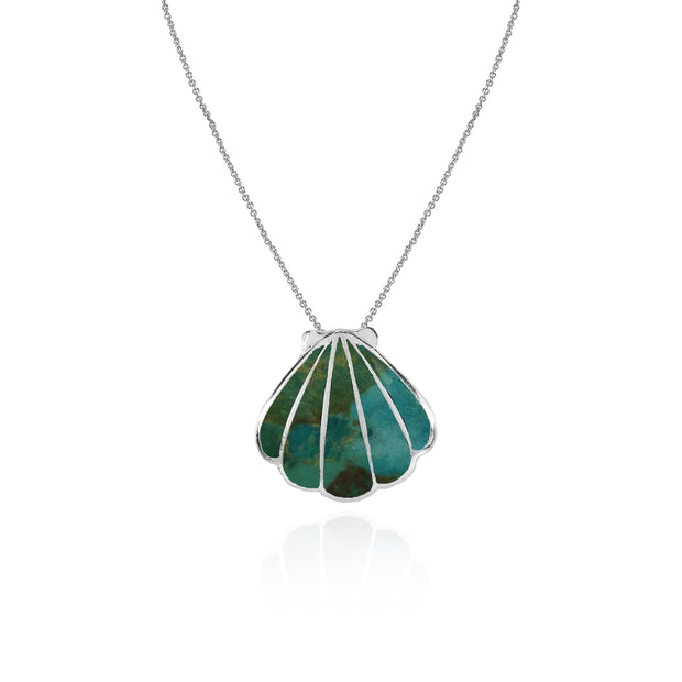 Sterling Silver Created Turquoise Seashell Slide Pendant Necklace