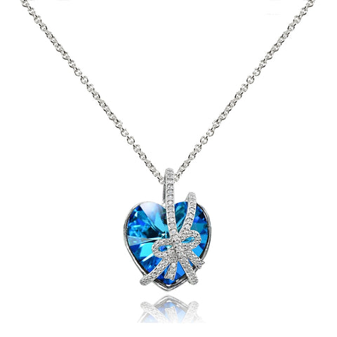 "Sterling Silver Bermuda Blue Bow Tie Engraved ""A Gift of Love"" Heart Necklace made with Swarovski Crystal"