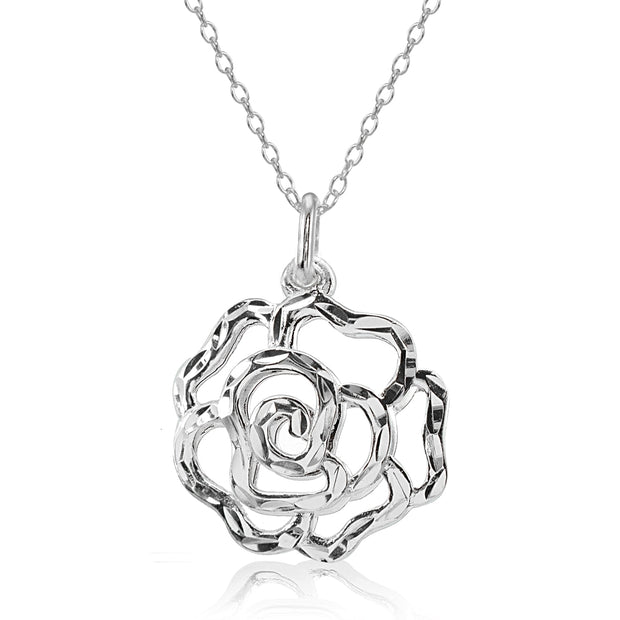 Sterling Silver High Polished Diamond-cut Filigree Rose Flower Pendant Necklace