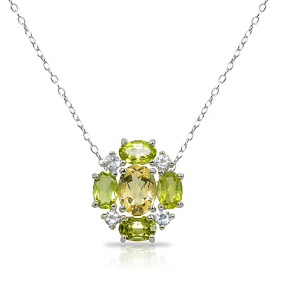 Sterling Silver Citrine and Peridot Oval Necklace with White Topaz Accents
