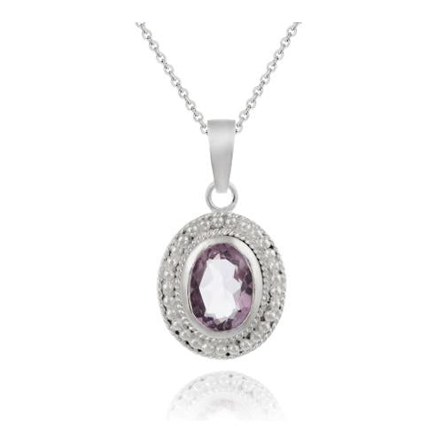 Sterling Silver Genuine Amethyst Oval Pendant