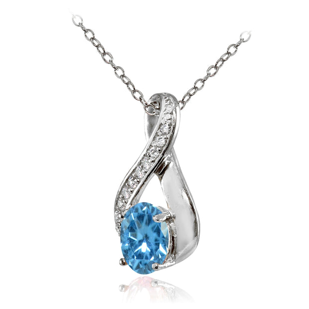 Sterling Silver Created Blue Topaz Oval Infinity and CZ Accents Necklace