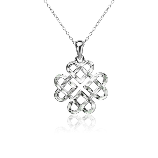Sterling Silver Diamond-cut Celtic Heart Love Knot Necklace