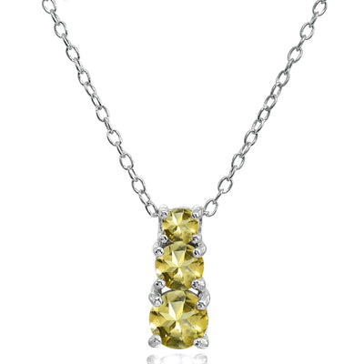 Sterling Silver Citrine Round Graduating Three Stone Pendant Necklace