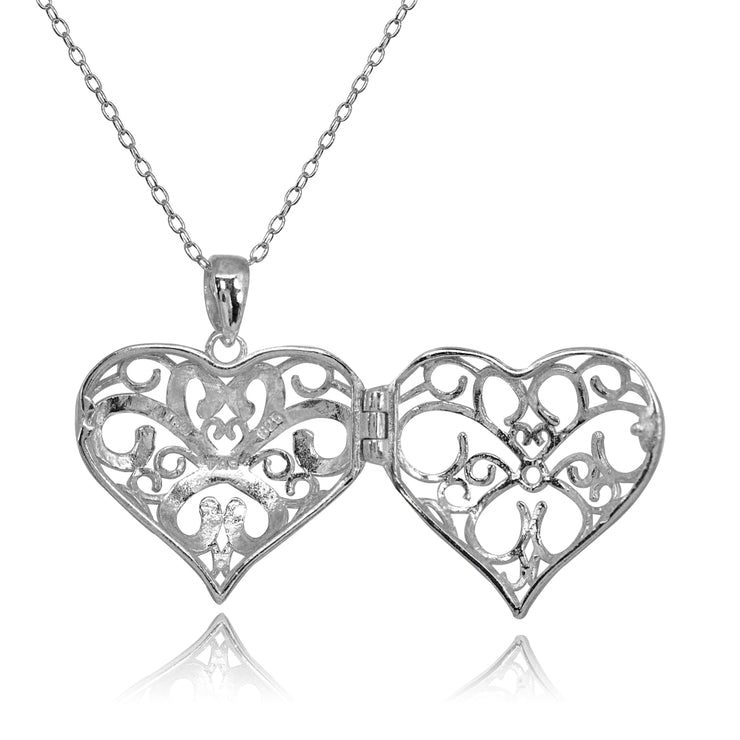 Sterling Silver Polished Diamond-Cut Heart Filigree Picture Locket Necklace