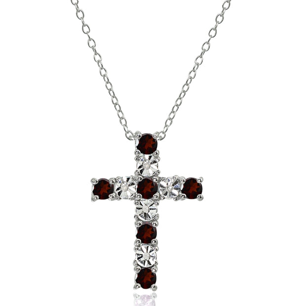Sterling Silver Garnet Cross Religious Pendant Necklace