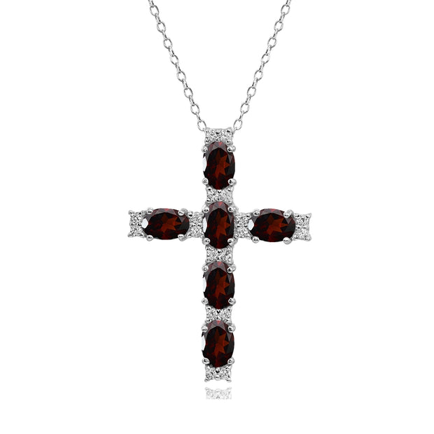 Sterling Silver Garnet Oval-Cut Cross Pendant Necklace with White Topaz Accents