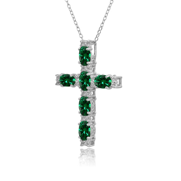 Sterling Silver Created Emerald Oval-Cut Cross Pendant Necklace with White Topaz Accents